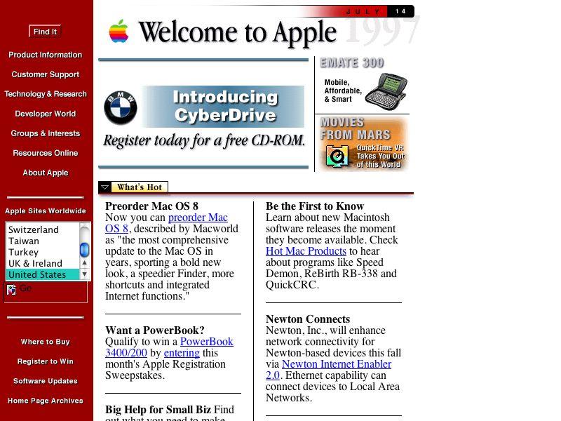 Apples första hemsida Explorecurate